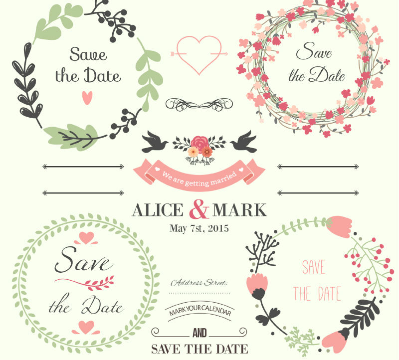 fresh wedding element vector material Advertising Design
