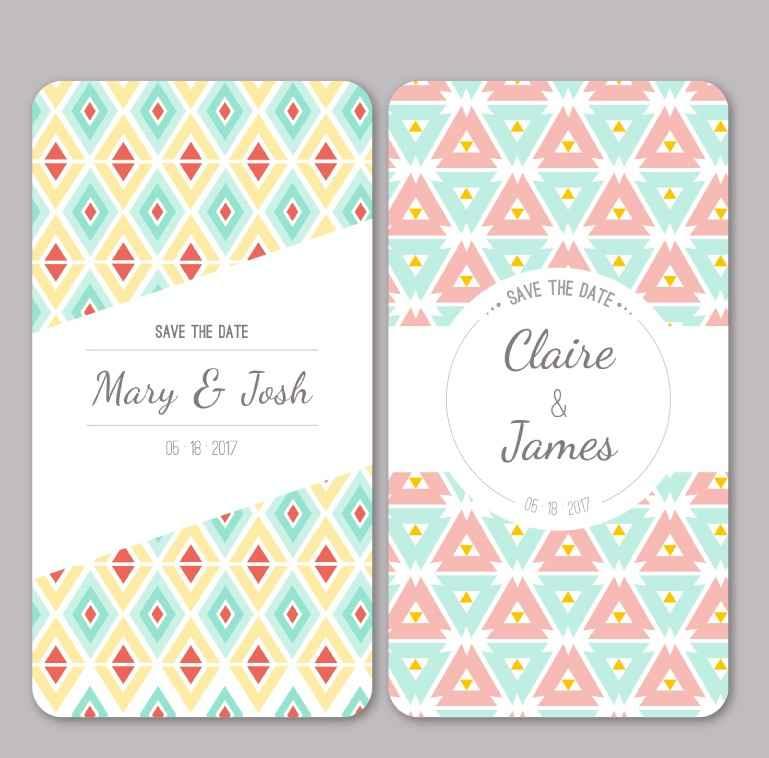 2 fresh wedding invitation card design vector