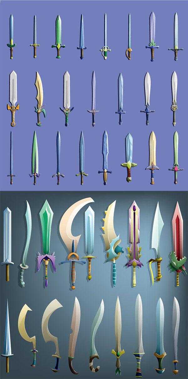 Game Swords utensils vector material