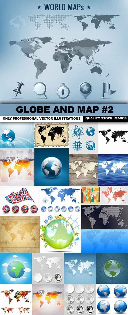 Globe And Map #2 – 25 Vector
