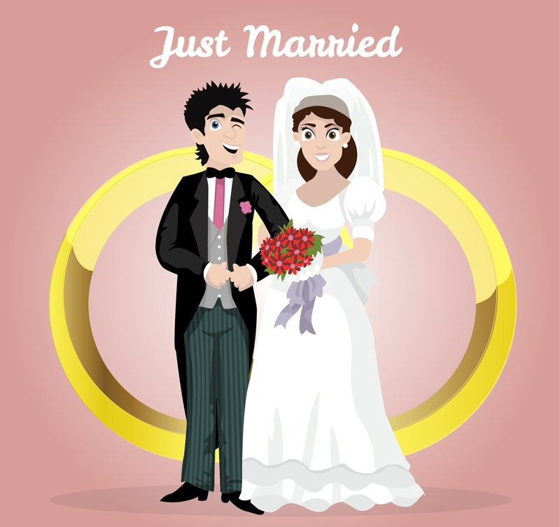 Gold rings and the bride and groom vector character