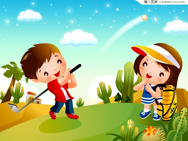 Golf Cartoon Children motion vector material