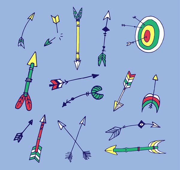 Hand drawn arrows and flak