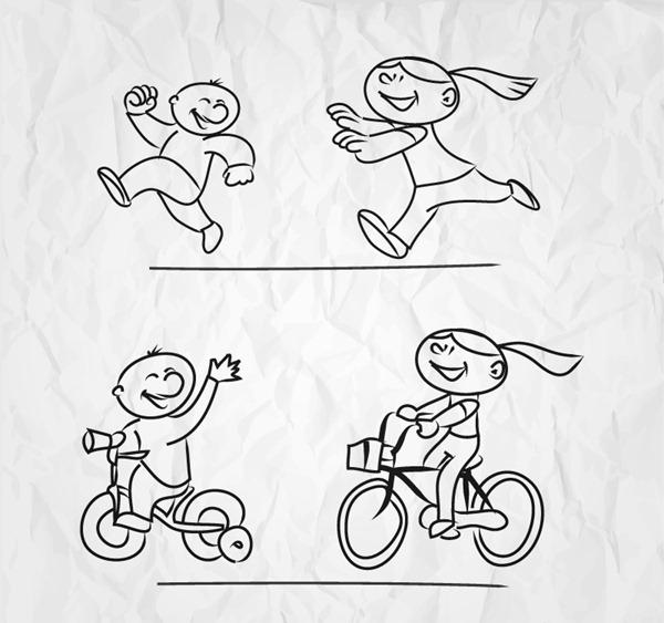 Hand-painted children's play design vector graphics