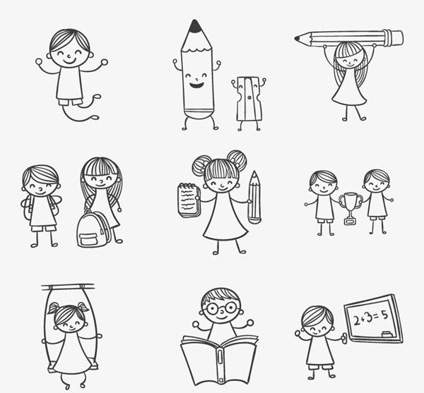 9 hand-painted children's play school vector graphics