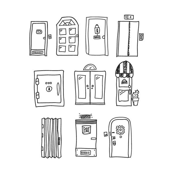 10 hand-painted door design vector graphics