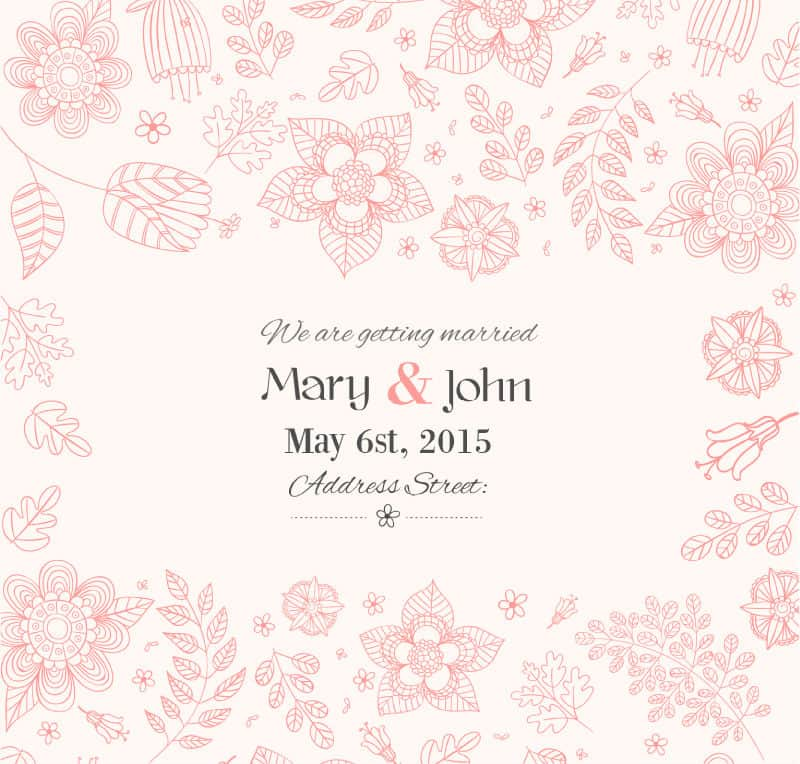 Hand-painted flowers vector material wedding invitation poster advertising design