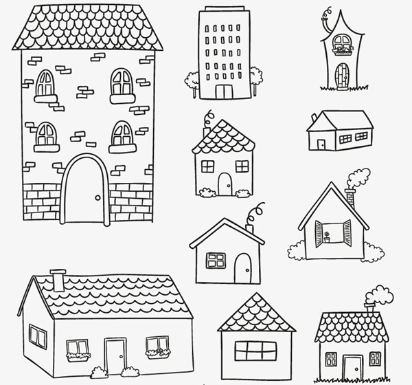 10 Hand-painted house design vector