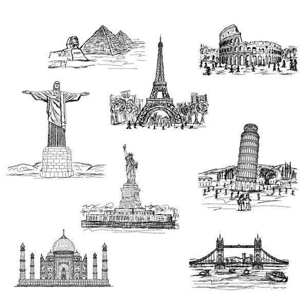 8 hand-painted world famous buildings