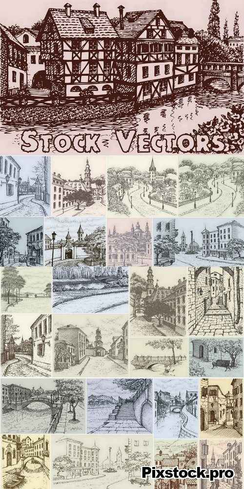 Illustration of city streets – 25 Eps