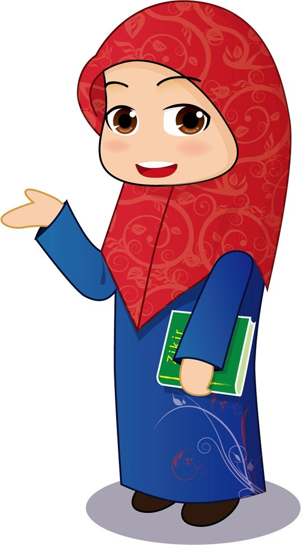 Islamic cartoon girl vector graphics