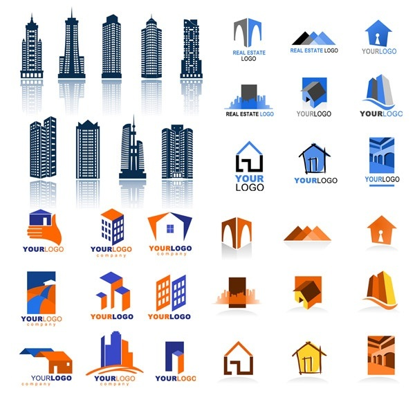 real estate logo template vector material