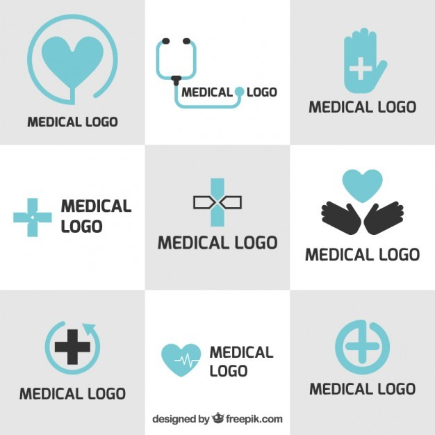Medical logo templates in flat design