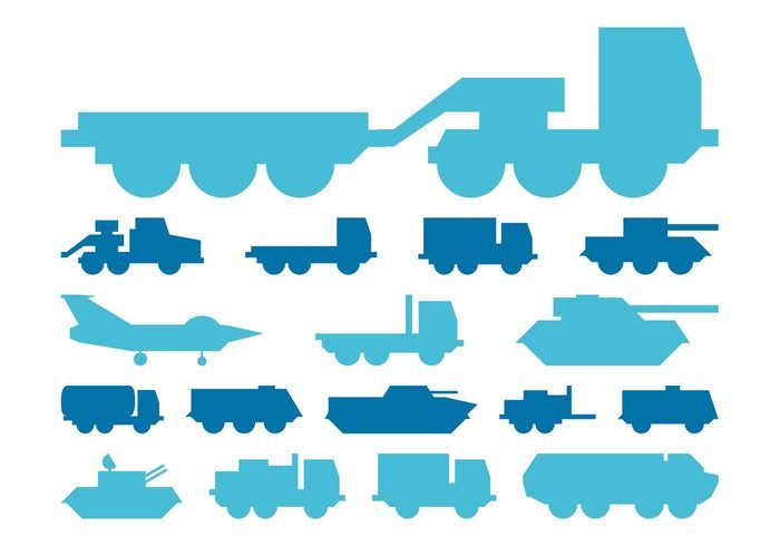 Military Vehicles Silhouettes Graphics
