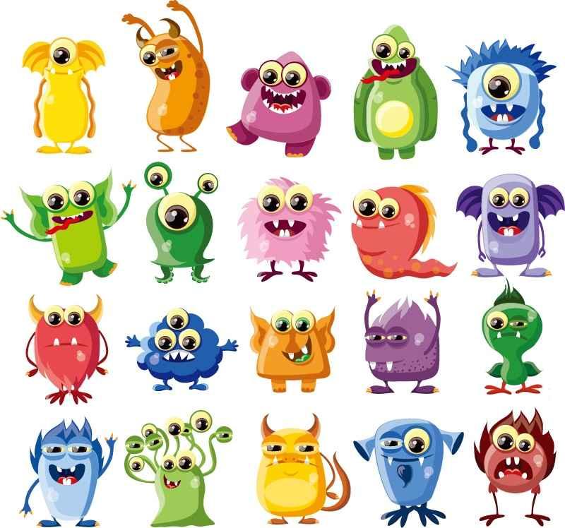 20 models cartoon monster bigeye bacterial vector material