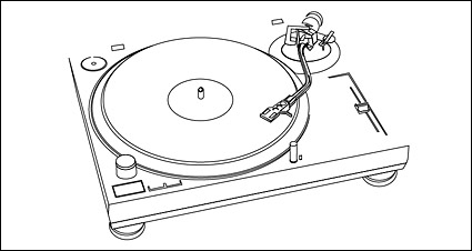 Music can not stop – plastic disc player line drawing vector