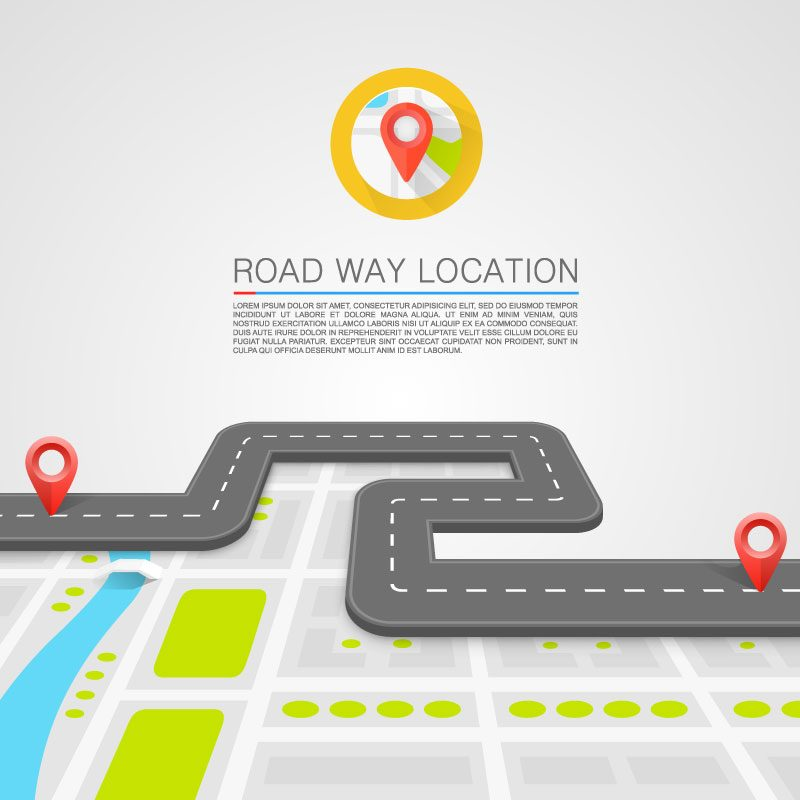 Navigation and positioning on the road illustrator vector material