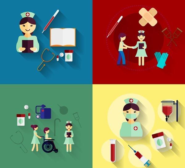 4 nurses and innovative medical illustratorNurses, thermometers, band-aid, stethoscope, medical, ...