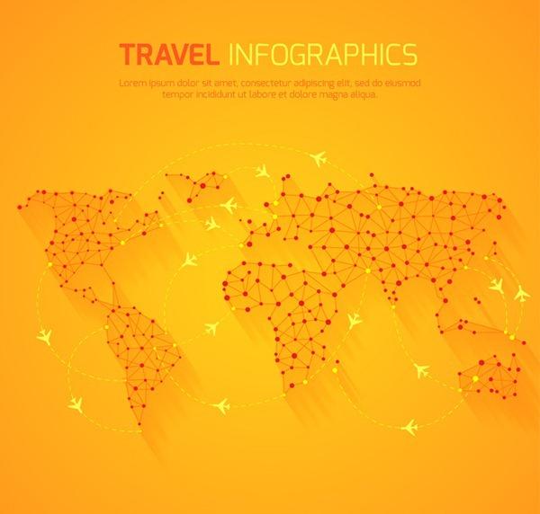 Orange world travel map vector graphics