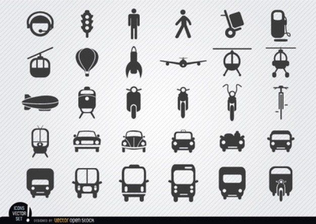 Outlined vehicle icons vector