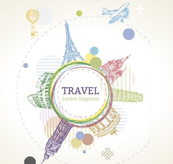 Painted World Travel tag vector graphics