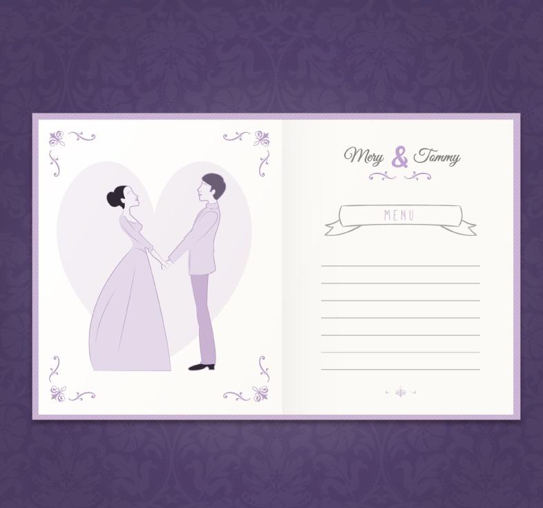 Purple wedding menu design