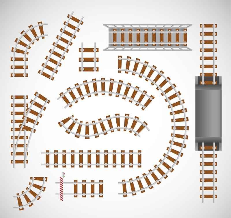 12 railway track design vector material