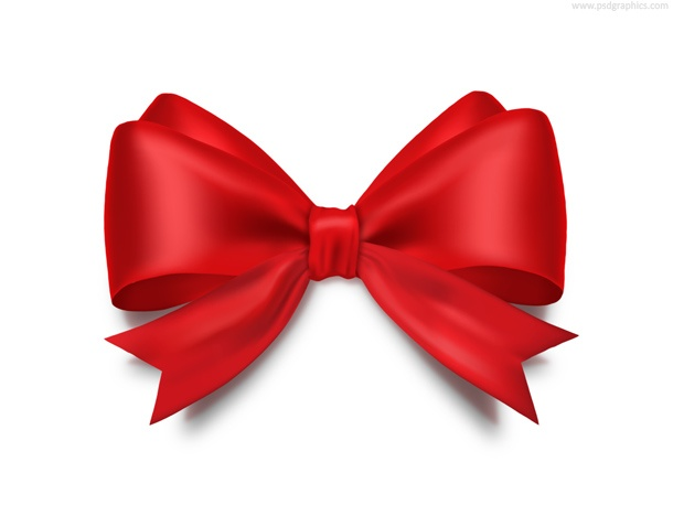 Red bow ribbon (PSD)