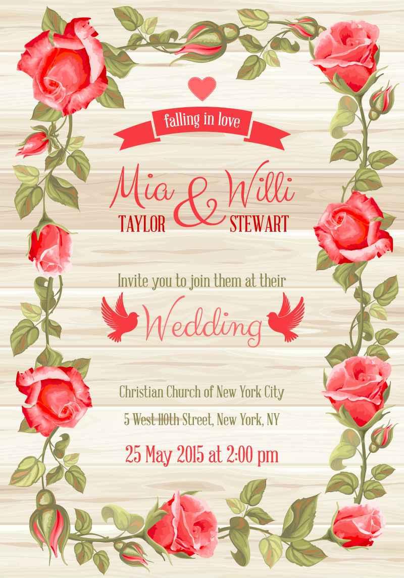 Red rose border wedding invitation card