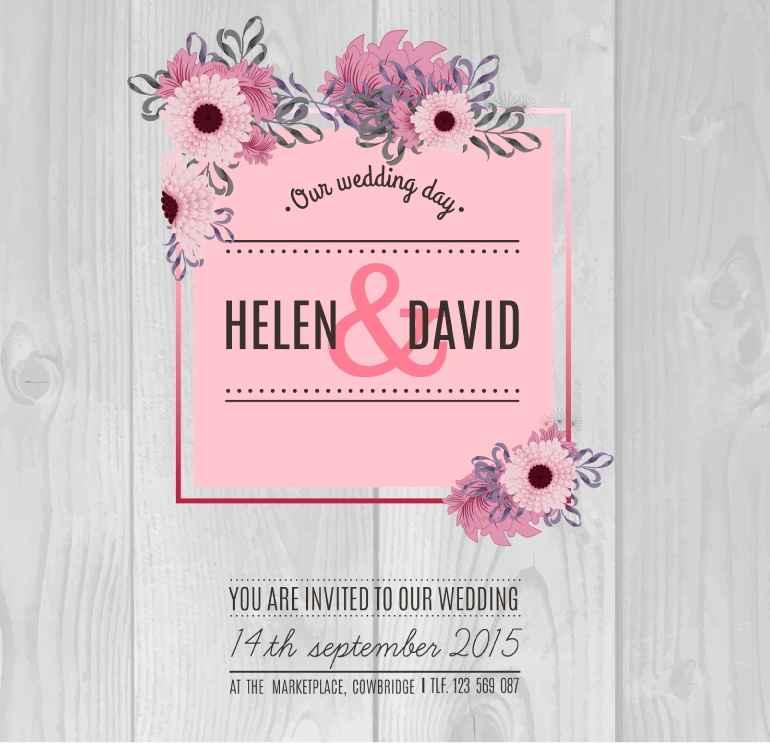 Retro flowers wedding invitation card design