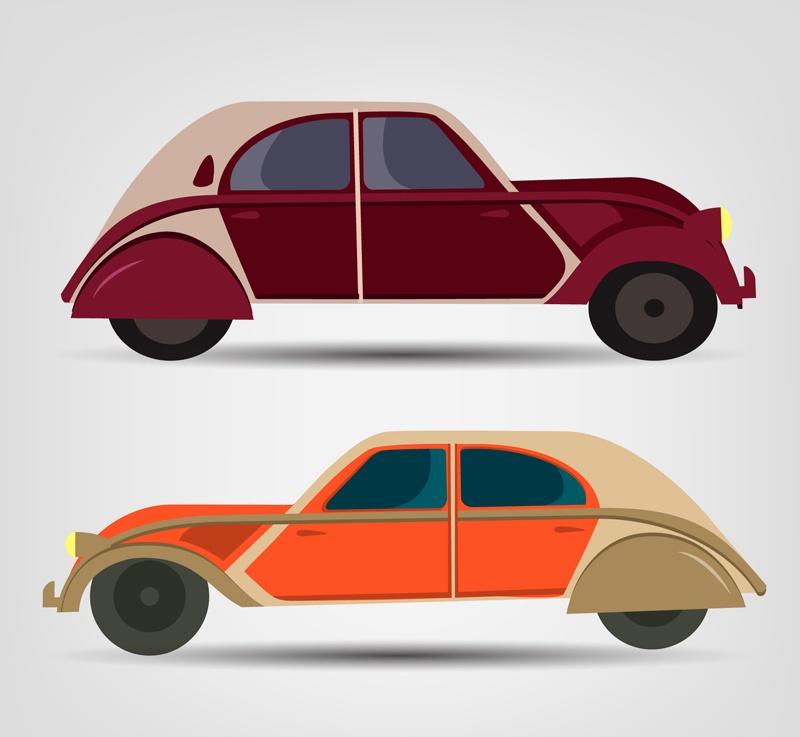 2 retro vehicle design vector material