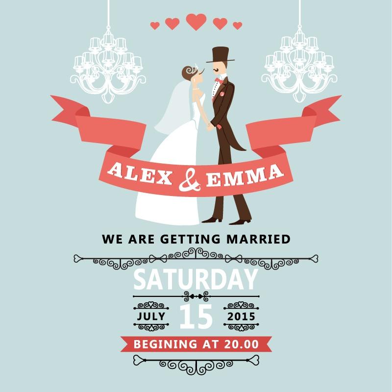 Romantic wedding poster design vector material