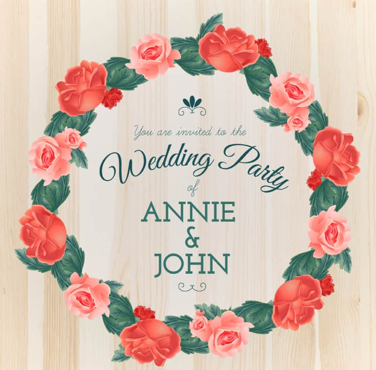Rose ring wedding party invitation posters