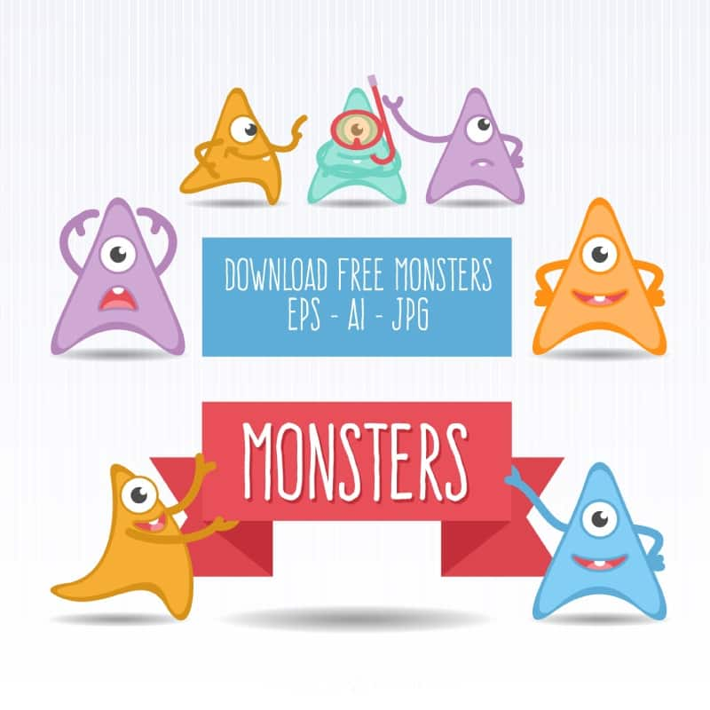 Seven triangle cartoon monster vector