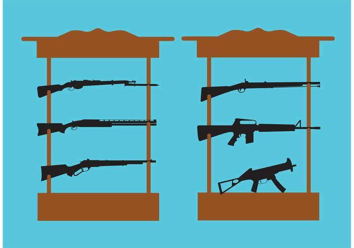 Shelf with Shotguns and Rifles