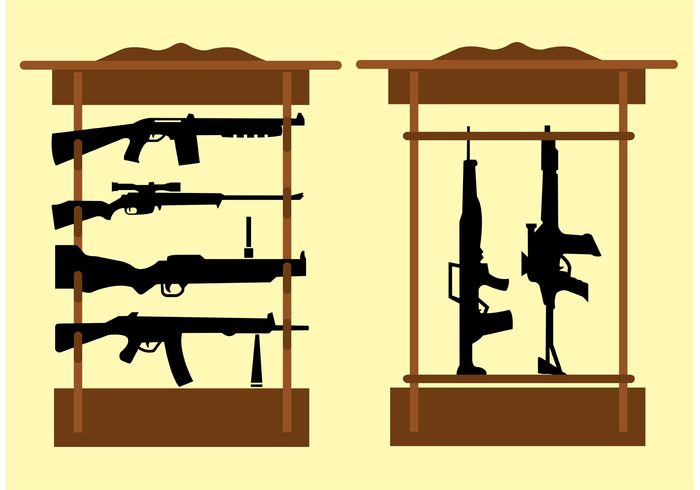 Shelf with Snipers and Rifles