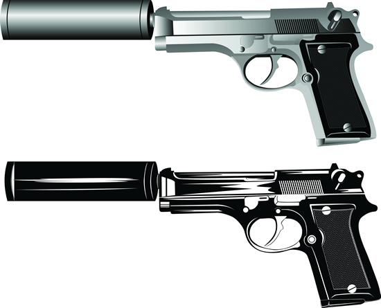 Silencer pistol vector material