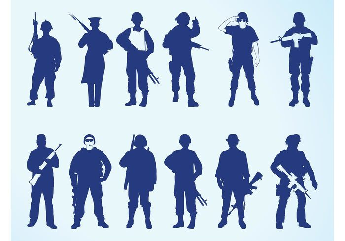 Silhouettes Of Soldiers