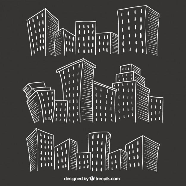 Sketchy city buildings on blackboard