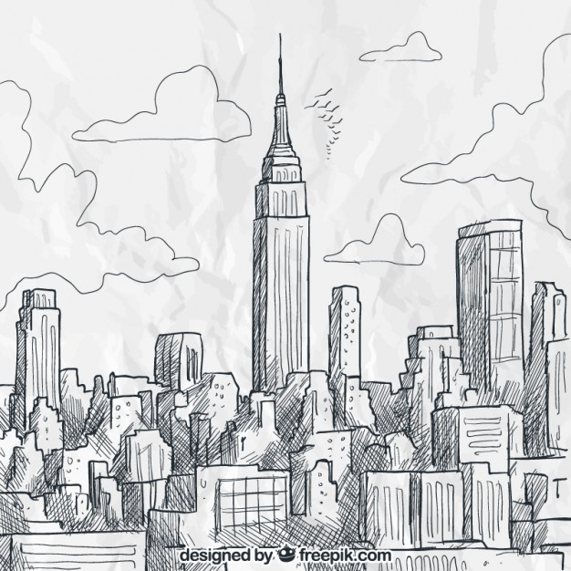 Sketchy new york skyline