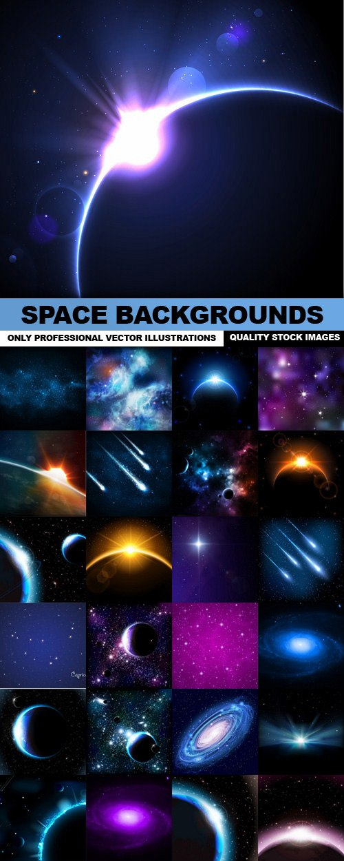 Space Backgrounds – 25 Vector