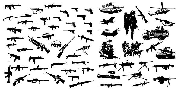 The modern weapon equipment vector material