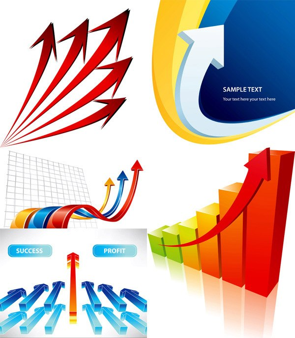 Three-dimensional vector arrow background material