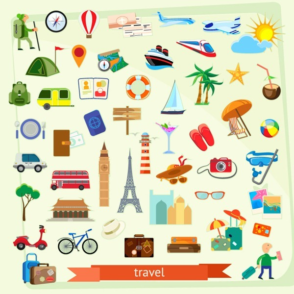 50 tourism element icon vector graphics