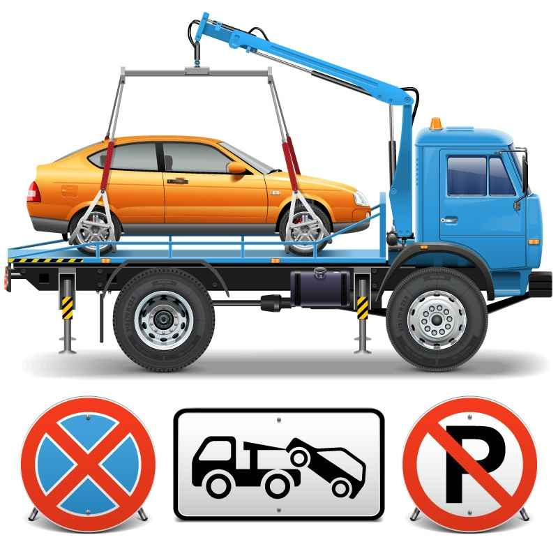 Trailers and exquisite design of traffic signs vector material