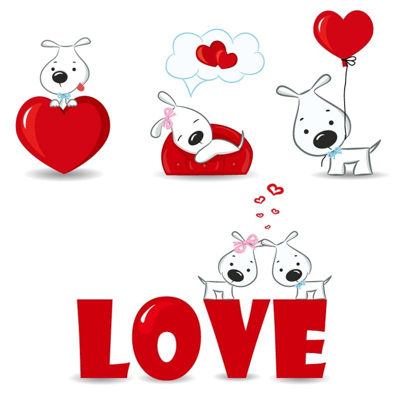 Valentine white puppy vector material
