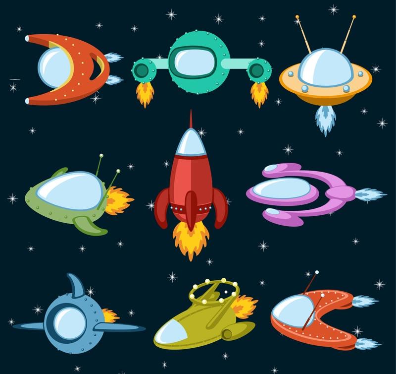 9 Vector cartoon spaceship