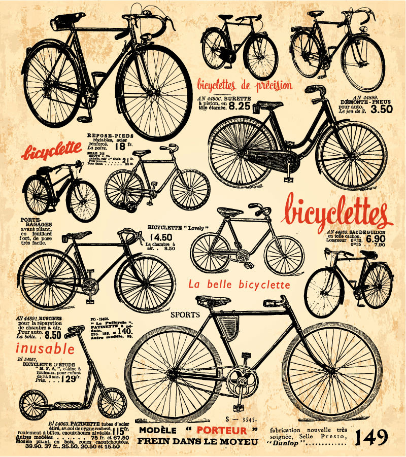 Vintage bicycle poster vector material