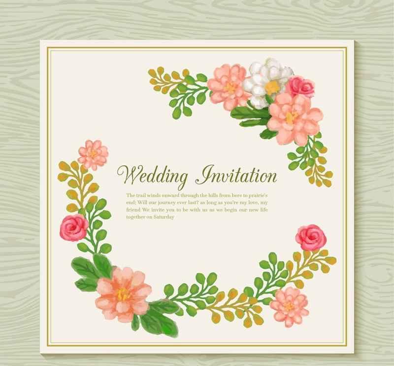 Watercolor Flower Wedding Invitation Card Design Vector Epin