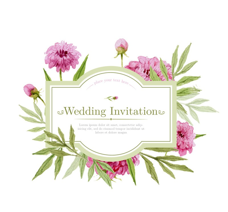 Watercolor flowers wedding invitation card design vector